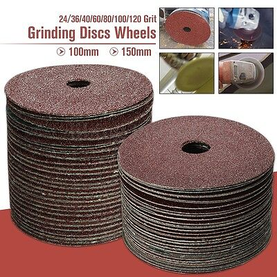 50x 100x16mm Fibre Sanding Grinding Discs Wheels 24-120Grit For Angle Grinder