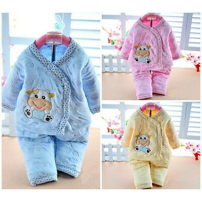 cotton warm 2 pcs Newborn Baby Clothes Girls Boys Winter Outfits&Sets NI
