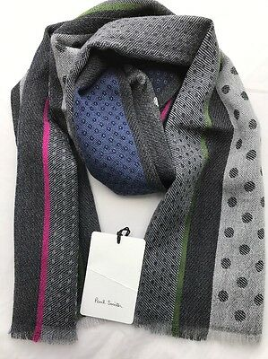 Paul Smith Men Scarf Classic Polka Made In Italy Pink/green Stripe
