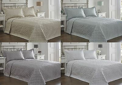 Double / King Regent Quilted Bedspread Throw & Matching Pillowshams - 4 Colours