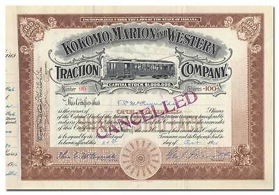 Kokomo, Marion and Western Traction Company Stock Certificate
