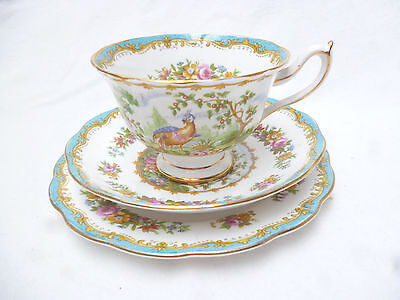 ANTIQUE ROYAL ALBERT TRIO -  BLUE CHELSEA BIRD Pattern