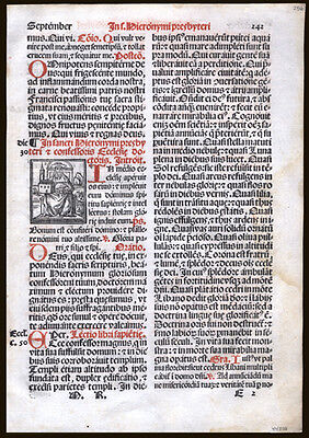 1566 Roman Missal Leaf Gregorian Chant Music Antiphoner Wonderful Woodcut