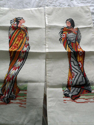 Completed Janlynn Indian Maiden and Brave Cross Stitch Set