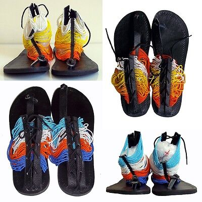 African Ethnic Leather Masai Beaded  Summer Sandals, Handmade Tribal Tanza Gifts