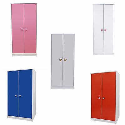 Wardrobe 2 Door Bedroom Furniture Kids Children's Storage with Hanging Rail