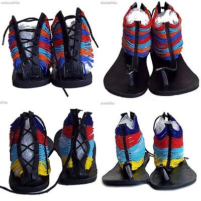 African Masai Ethnic Tribal Beaded Leather Summer Sandals, Fairtrade Boho Gifts