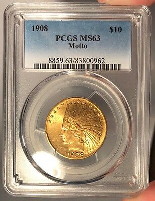 1908 $10 PCGS MS 63 Indian Head Gold Eagle - Motto