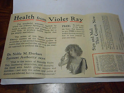 1900's Renulife Violet Ray Generator Pamphlet From The Philadelphia Electric Co.