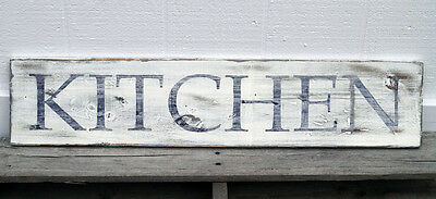 "KITCHEN - Large Rustic Wood Sign 34"" long Distressed White Fixer Upper Style"