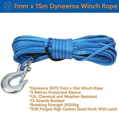 7mm X 15m Dyneema SK75 Marine Hand Winch Rope Boat Car Tow Recovery Blue