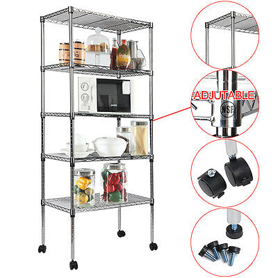 "Heavy Duty 5 Tier Layer 60""x24""x14""  Wire Shelving Rack Adjustable Wheel Shelf"