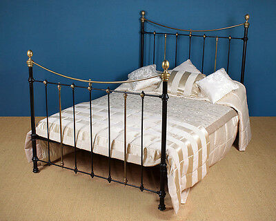 Antique Five Foot Wide Brass & Iron Bed c.1880.