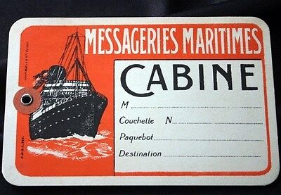 Vintage Messageries Maritimes Cabin Baggage Tag