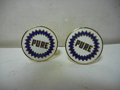 Pure Oil Company White, Blue And Gold Enameled Cuff Links