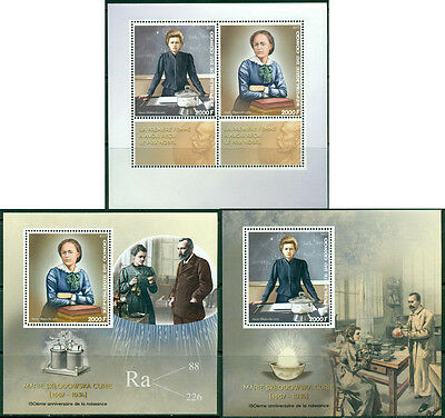 Marie Curie Nobel Prize Physics Chemistry Science Congo MNH stamp set