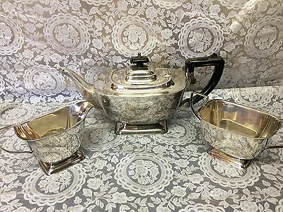 Elegant Antique silver plate tea set, antique teapot set