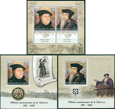 Martin Luther John Calvin Reformation Protestantism Religion Congo MNH stamp set