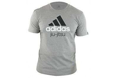 Adidas BJJ T-Shirt Jiu Jitsu Grey Cotton Tee Martial Arts Gift Tshirt Adult