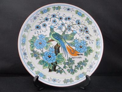 Vibrant Chinese Plate Shallow Dish with Birds of Paradise and Floral Decoration