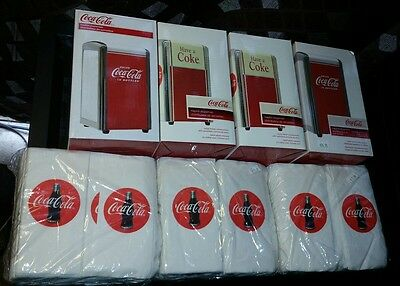 Coca-Cola Napkin Dispenser Lot Of 4 Four With 3 Packages Of Coca Cola Napkins