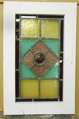 "VICTORIAN ENGLISH LEADED STAINED GLASS WINDOW Cute Little Bullseye11.5"" x 17.75"""