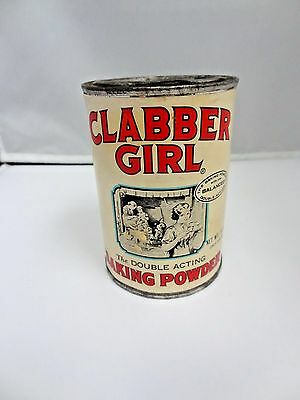 Vintage Clabber Girl Baking Powder Can With  Paper Label