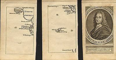 1765 small maps of captain lemuel gullivers travels ! north america & lilliput