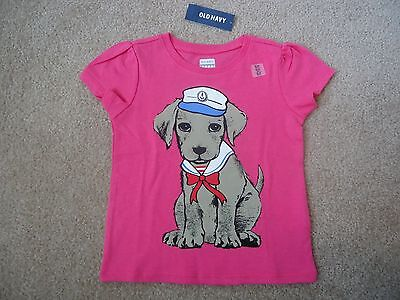 NWT OLD NAVY Cute Sailor Puppy Short Sleeve Pink T-Shirt Size 18-24 Months!