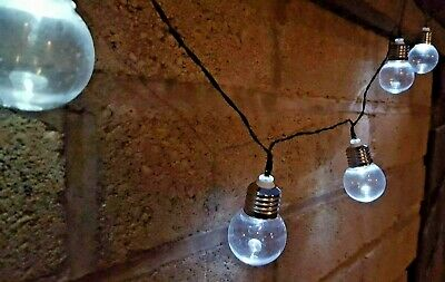 NEW 10x VINTAGE BULB SOLAR POWER FAIRY STRING LIGHTS OUTDOOR GARDEN PARTY LIGHTS