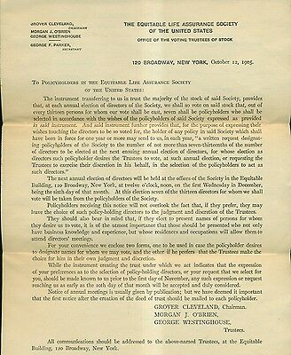 1905 President Grover Cleveland Chairman Equitable Life Assurance Society Items
