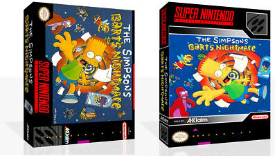 The Simpsons Bart Nightmare Replacement SNES Box Art Case Insert Cover Scan