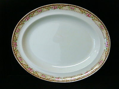 """Antique Alfred Meakin 14 1/8""""  Platter- Roses w/Gold Trim - early 1900's"""