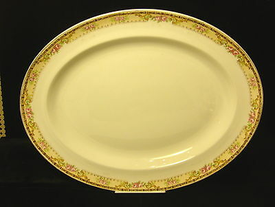 "Antique Alfred Meakin 16 1/4"" Large Platter- Roses w/Gold Trim - early 1900's"