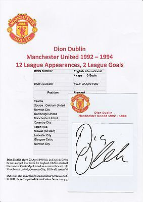 Dion Dublin Manchester United 1992-1994 Original Hand Signed Cutting/card