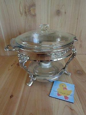 Chafing Dish Warmer Silver w Candle Anchor 2 Qt Clear Glass Casserole with Lid