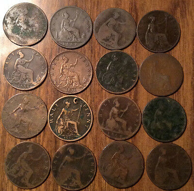 Lot Of 16 United Kingdom Half Penny Lot Of 16 Coins !