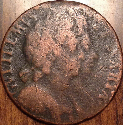 1694 Uk Half Penny William And Mary In Better Grade !!
