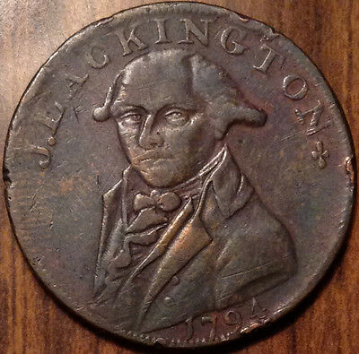 1794 Uk Gb Great Britain J. Lackington Half Penny Token In Great Condition !!
