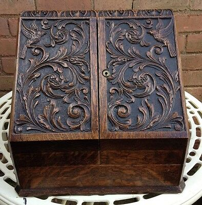 Antique Victorian Carved Oak Writing / Stationery Box with Key Circa 1890
