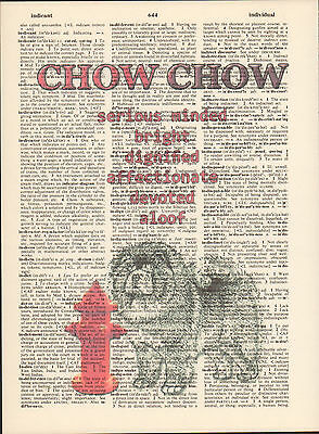 Chow Hydrant Dog Traits Altered Art Print Upcycled Vintage Dictionary Page Print