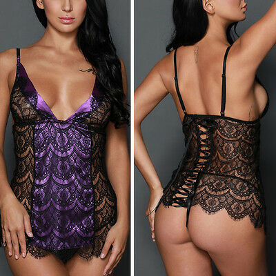 Satin Purple/Black Lace Sheer Babydoll Teddy Tie Up Back Boudoir Lingerie S-L US