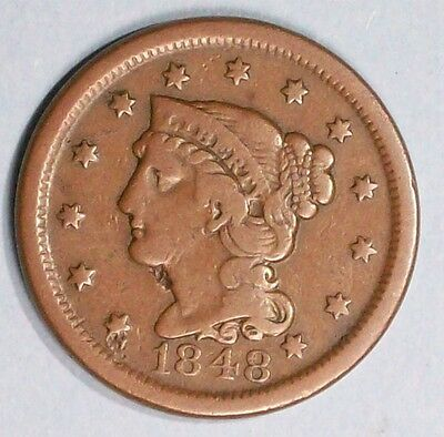 U.s.a Braided Hair Large Cent 1948 Very Fine Bronze Coin