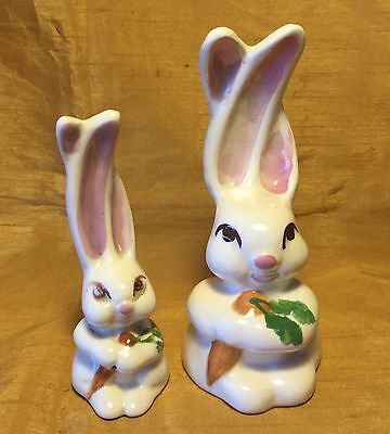 Vtg Pair Painted Ceramic Pottery Bunny Rabbit Figurines 1 w Real Cotton Tail