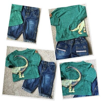 Next Baby Boys Cute Dinosaur Top & M&s Jeans Outfit 3-6 Months