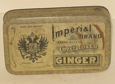 Antique Imperial Brand Ginger Tin Advertising Store Delaphena Co. NY