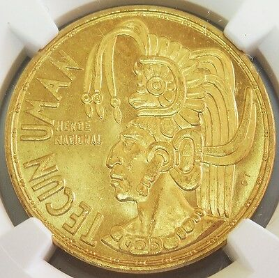 1965 Gold Guatemala Tecun Uman 1/2 Oz Commemorative Ngc Mint State 64