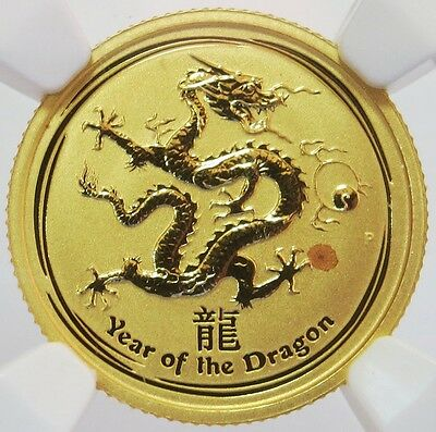 2012 Gold Australia $15 Lunar Year Of The Dragon 1/10 Oz Coin Ngc Mint State 69