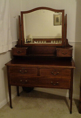 Antique Edwardian Inlayed Dressing Table with Large Mirror