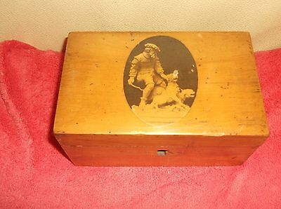 Vintage Mauchline Ware Wooden Box Man With Dogs